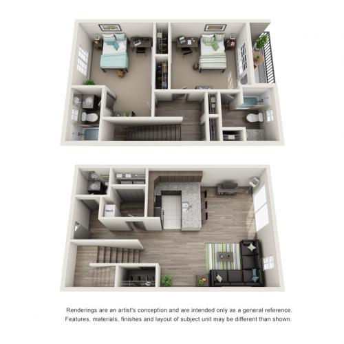 2 Bdrm Floor Plan | ISU On Campus Apartments | Smallwood Plaza