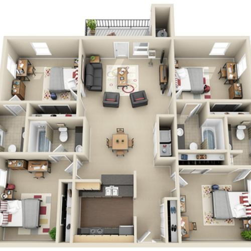 4 Bedroom Floor Plan | The Landings at Chandler Crossings | MSU Student Housing