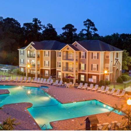 Cayce Cove resort-style pool at dusk