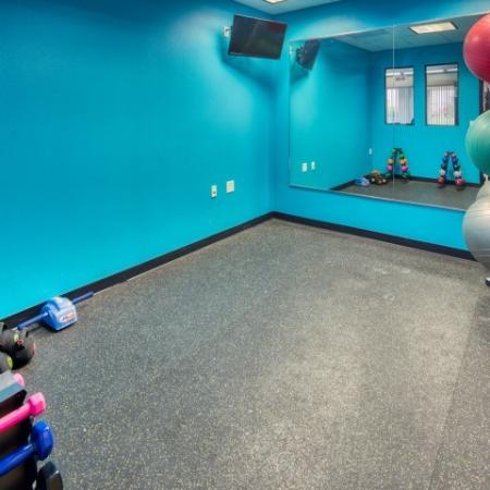 24-hour fitness gym with yoga studio | South Duff Apartments