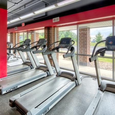 24-hour fitness gym at South Duff Apartments