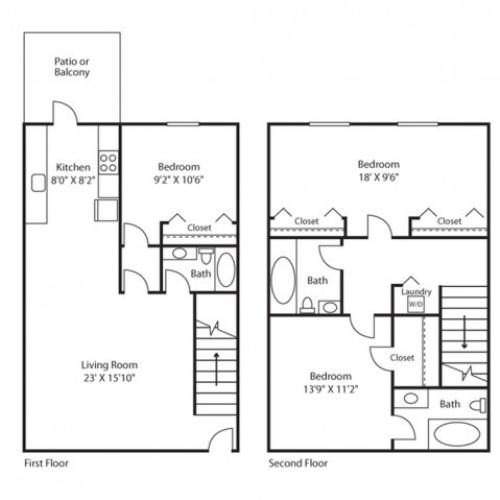 3 Bed, 3 Bath Floorplan