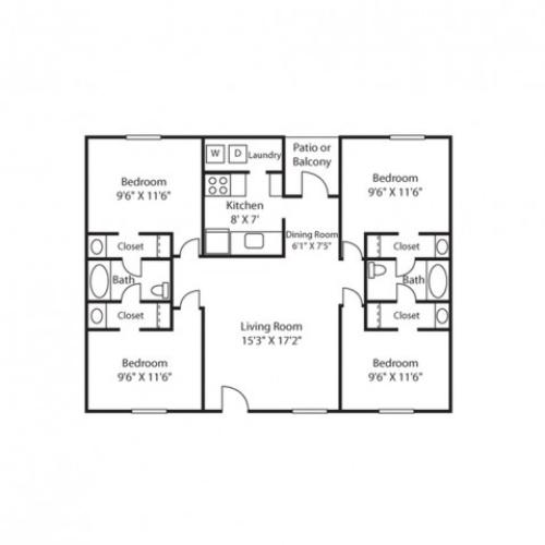 4 Bed, 2 Bath Floorplan