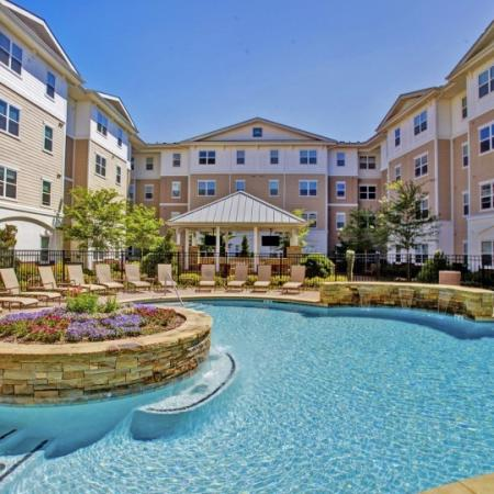 sparkling pool at emory housing complex