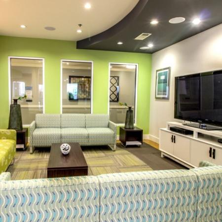 tv room at campus crossings at briarcliff
