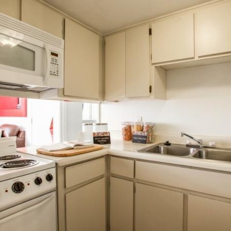 kitchen at university heights apartments in tucson az