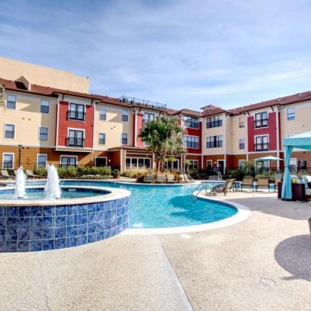 sparkling pool at apartment complex in lsu