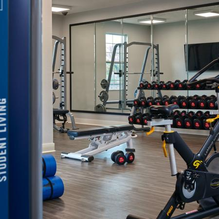 gym at student housing in statesboro ga