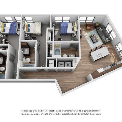 three bedroom apartment in ann arbor