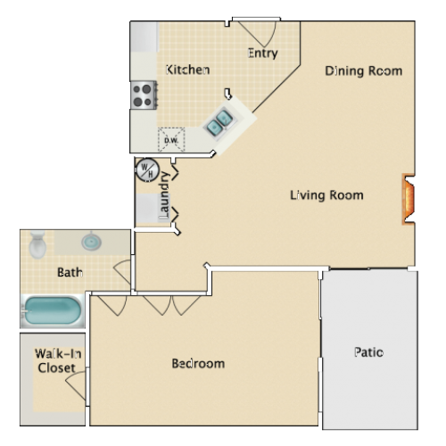 One bedroom One bath, B