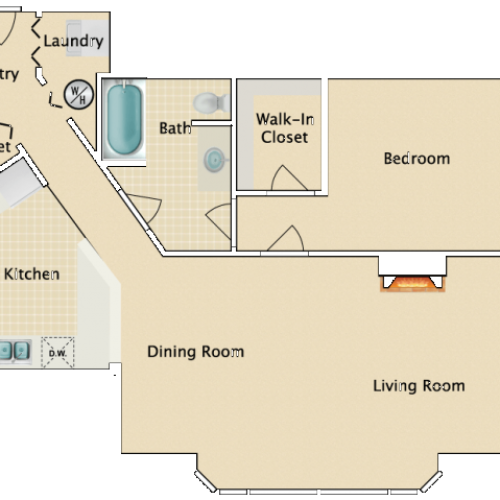 One bedroom One bath, C