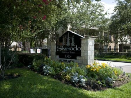 Silverado | Houston, TX Apartments For Rent | Landscaped Entrance Sign