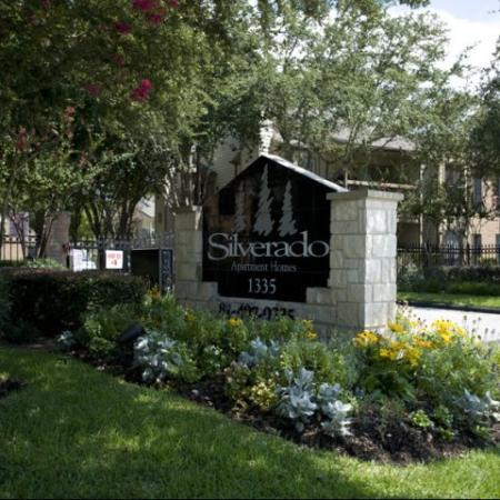 Silverado   Houston, TX Apartments For Rent   Landscaped Entrance Sign