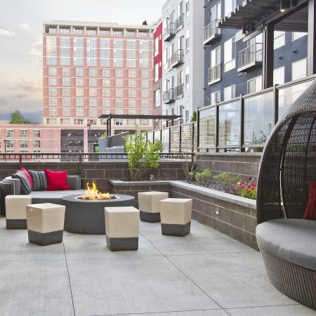 Poolside Fire- Pit | Via Apartments | Apartments for Rent in Denver, CO