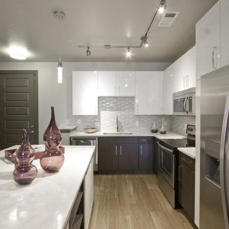 Kitchen Island | Via Apartments | Apartments for Rent in Denver, CO