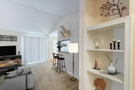 Silverado Apartments in Houston, Living Room with Built-in Book Shelves