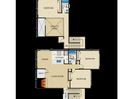 3 Bedroom Loft Style River