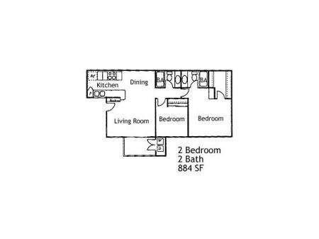 2 Bedrooms/ 2 bath