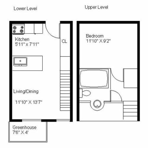 Center Ithaca Loft One Bedroom Apartment