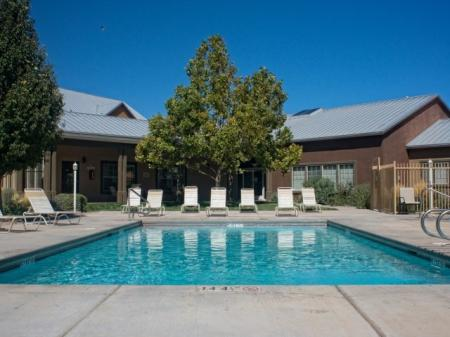 Pool area at Mirabella Heights in Albuquerque, NM