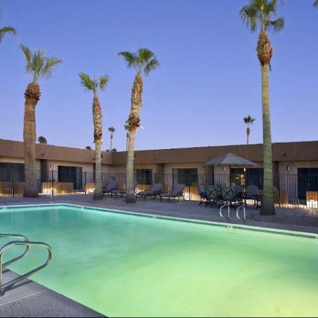 Pool and patio at SunVilla Apartments In Mesa, AZ
