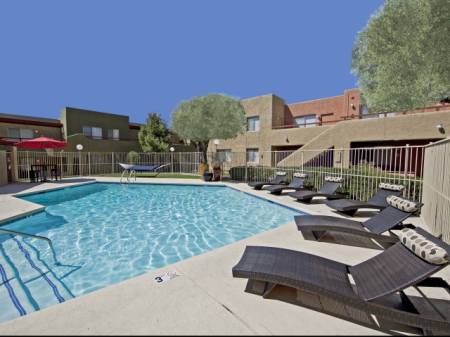 Pool and patio at Zona Verde Apartments in Tucson, AZ