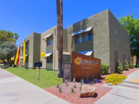 Exterior and landscaping at Zona Verde Apartments in Tucson, AZ