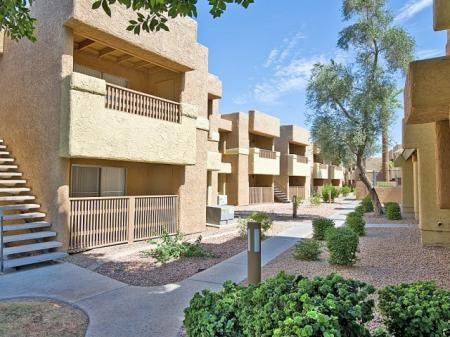 Exteriorl and landscaping at Papago Crossing Apartments in Phoenix, AZ