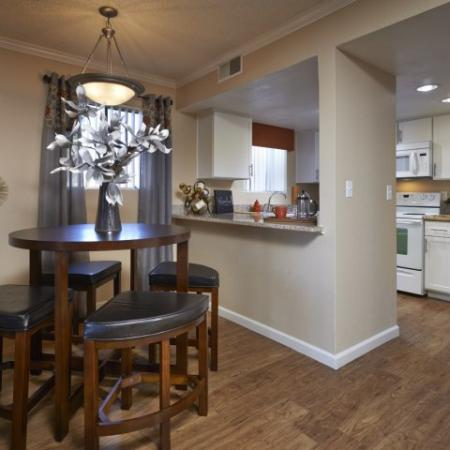 Kitchen and dining room at Country Brook Apartments in Chandler, AZ