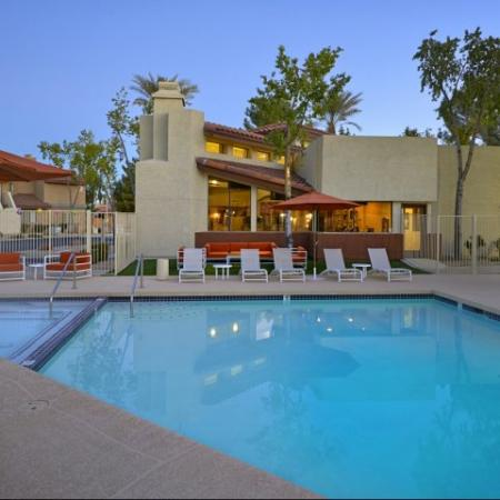Resort-style pool at Country Brook Apartments in Chandler, AZ