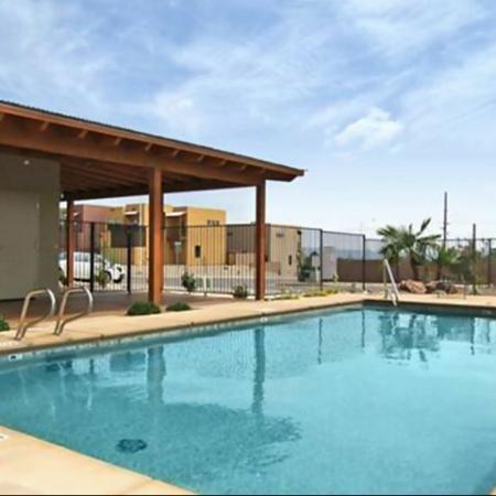 Pool and patio at Coronado Commons Townhomes in Sierra Vista, AZ