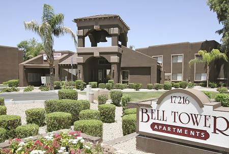 Bell Tower Apartments signage in Phoenix, AZ