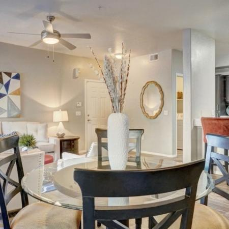 Dining area and living room at Ridge View Apartments in Fountain Hills, AZ