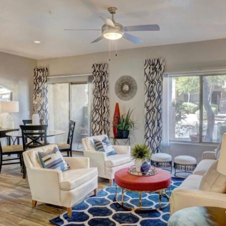 Living room and dining area at Ridge View Apartments in Fountain Hills, AZ