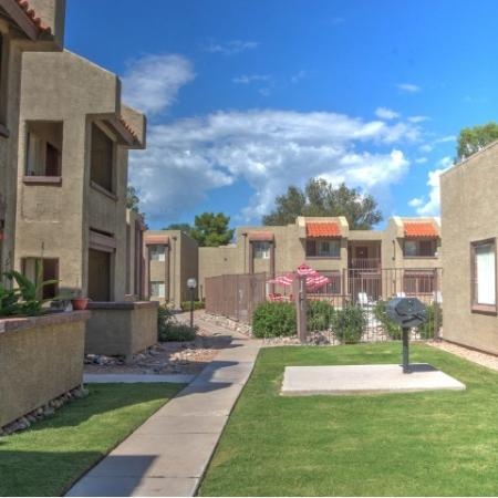 Exterior and landscaping at Woodridge Apartments in Tucson, AZ