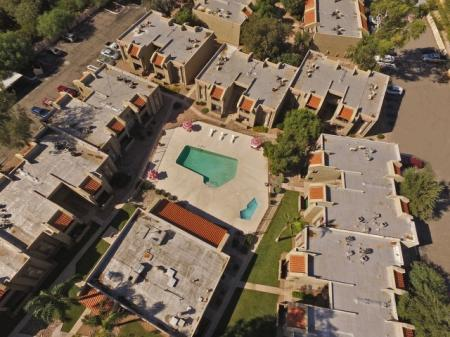 Arial view at Woodridge Apartments in Tucson, AZ