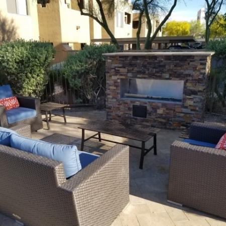 Outdoor fireplace patio at Ridge View Apartments in Fountain Hills, AZ