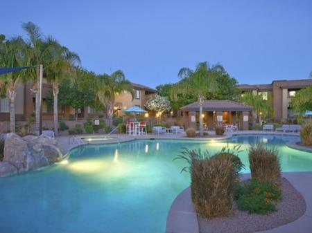 Pool and patio at Silverbell Springs Luxury Apartments in Tucson, AZ