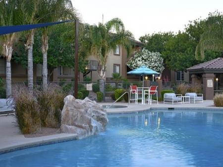 Pool, patio and spa at Silverbell Springs Luxury Apartments in Tucson, AZ