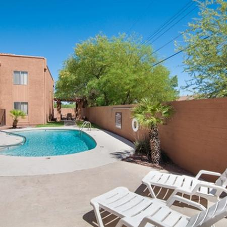 Pool and patio at Acacia Gardens Apartments in Tucson, AZ