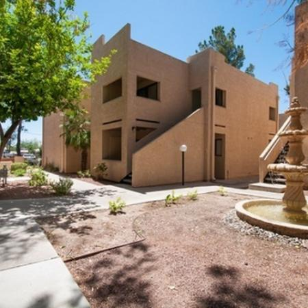 Exterior and landscaping at The Fountains Apartments in Tucson, AZ