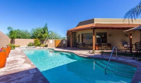 Pool, spa and patio at Galeria Del Rio Townhomes in Tucson, AZ