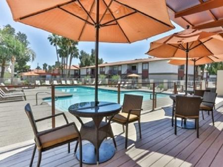 Pool and patio at Park At Deer Valley Apartments in Phoenix, AZ