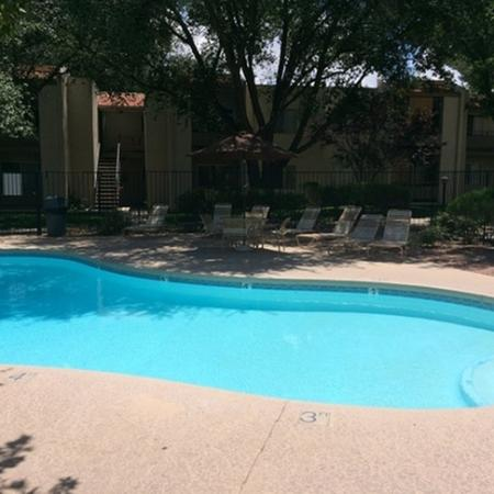 Pool and patio at Saguaro Villas Apartments in Tucson, AZ