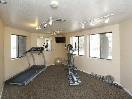 Fitness room at University West Apartments in Flagstaff, AZ