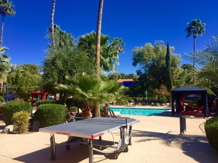 Pool and pin-pong table at Mission Palms Apartments in Tucson, AZ