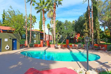Pool and patio at Mission Palms Apartments in Tucson, AZ