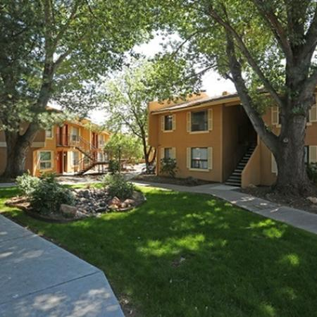 Exterior and landscaping at Aspen Leaf Apartments in Flagstaff, AZ