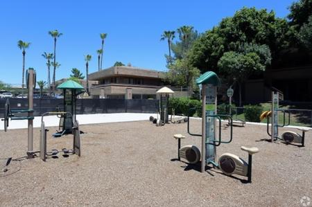 Outdoor fitness area at Avalon Hills Apartments in Phoenix, AZ