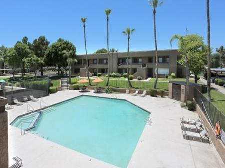Pool and patio at Avalon Hills Apartments in Phoenix, AZ